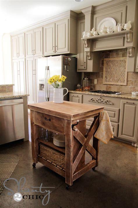 rustic  small rolling kitchen island ana white