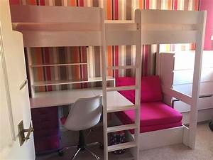 single bunk bed with desk and sofa bed chair underneath With loft bed with sofa and desk underneath