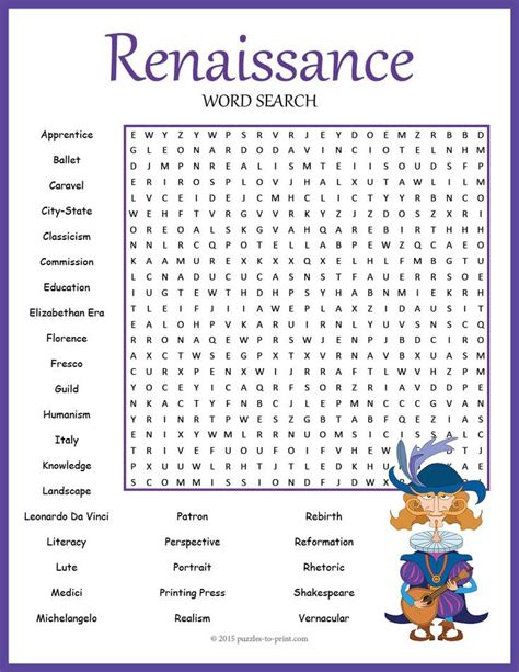renaissance worksheets pdf renaissance word search puzzle early finishers studying