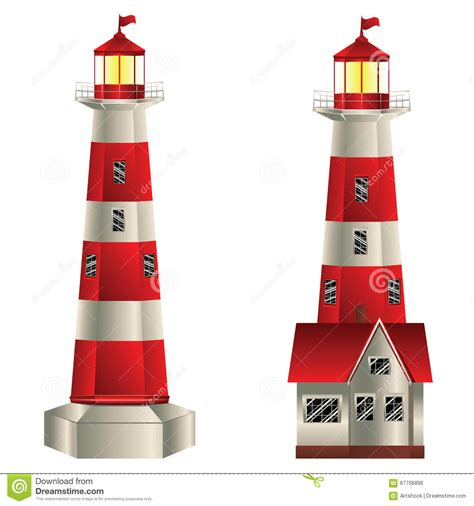 lighthouse colors and white lighthouse stock vector illustration of