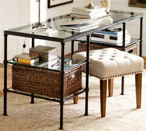 pottery barn glass l industrial style iron base glass top desk
