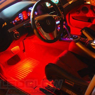 led car lights interior ledglow 4pc led car interior underdash lighting kit