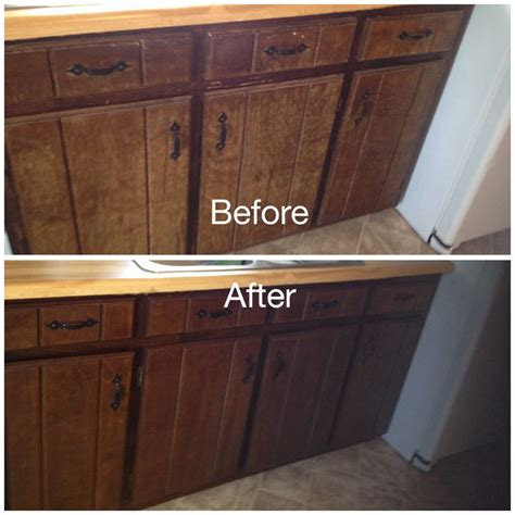 worn kitchen cabinets stained  minwax gel stain  hickoryremoved doors  hinges