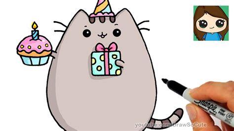 draw happy birthday pusheen cat youtube