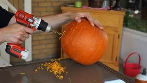 Pumpkin, Carving, With, A, Power, Drill