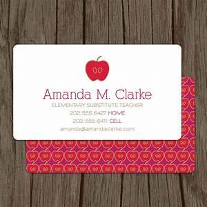 Modern substitute teacher business card set of 100 4800 for Substitute teacher business card