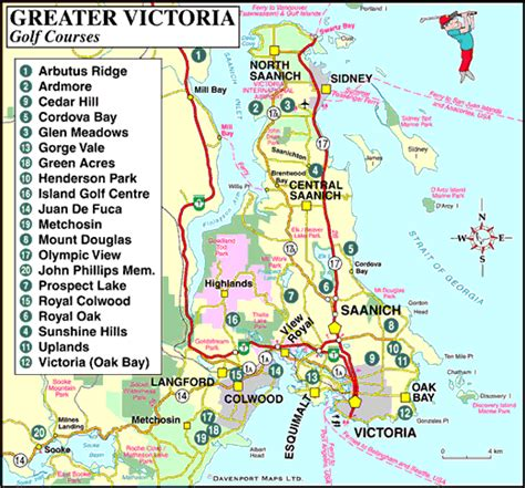 map  golf courses  greater victoria vancouver island