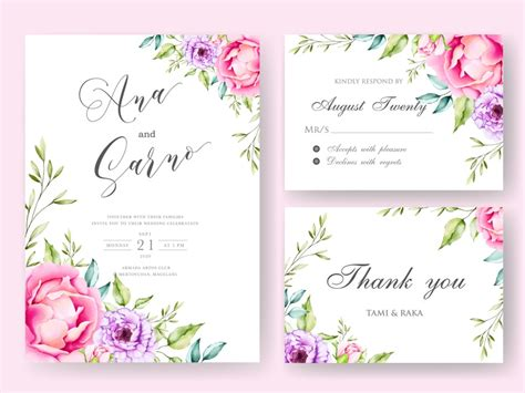 wedding invitation card with black background floral by