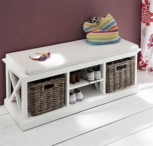 Banc De Rangement Maison Du Monde : banc d 39 entr e ou banc de lit bois blanc massif collection ~ Premium-room.com Idées de Décoration