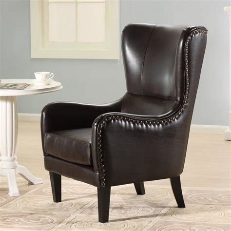 salerno brown leather studded club chair modern