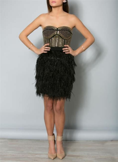 Black Studded Sweetheart Dress with Feather Skirt by Concrete Runway | UsTrendy
