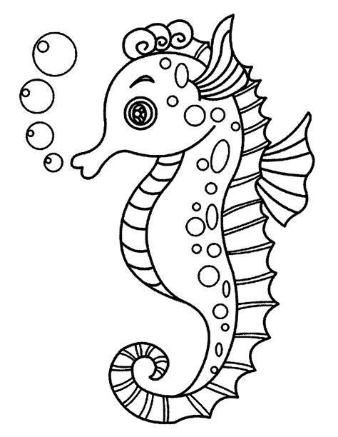 kumpulan gambar kuda laut untuk di warnai anak