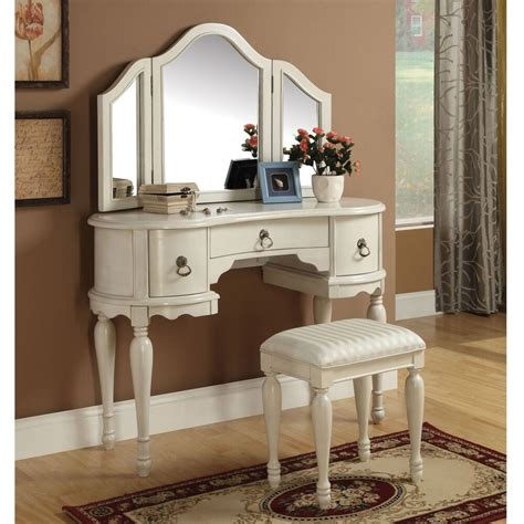 Vanity And Desk by Trini 3 Pc Vanity Set Tri Fold Mirror Table Stool Bench