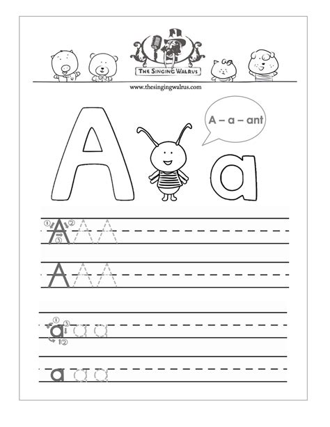 printable letter  practice sheet  kids
