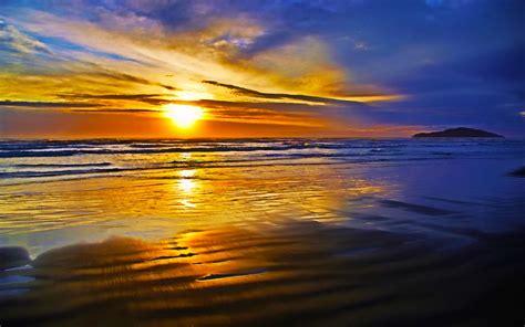 fabulous sunset beach ocean waves hd desktop wallpaper