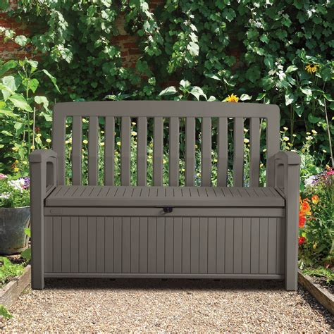 plastic garden bench plastic garden storage bench box departments diy at b q