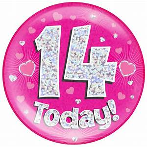 14th Birthday Pink Holographic Jumbo Badge | Pageant Party  14th