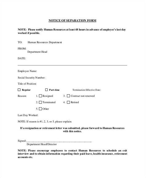 employment separation letter letters  sample letters