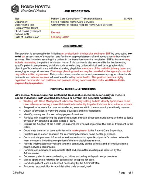 Home Health Care Coordinator Resume by Patient Care Coordinator Description