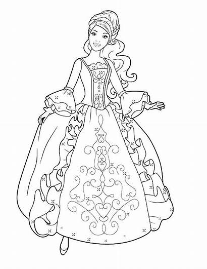 Coloring Pages Dresses Fancy Pretty Barbie Pa