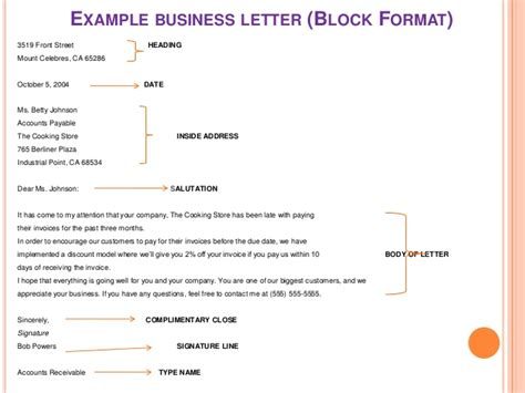 proper business letter format 2 block style business