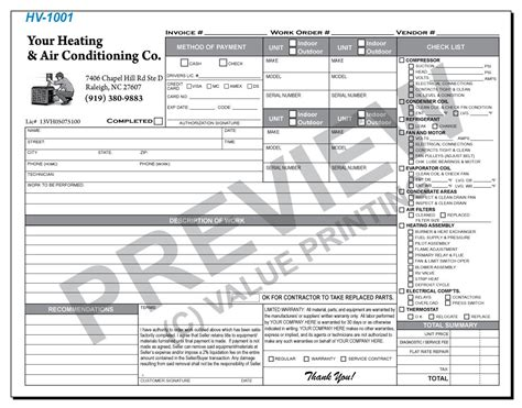 hv  hvac flat rate work order invoice