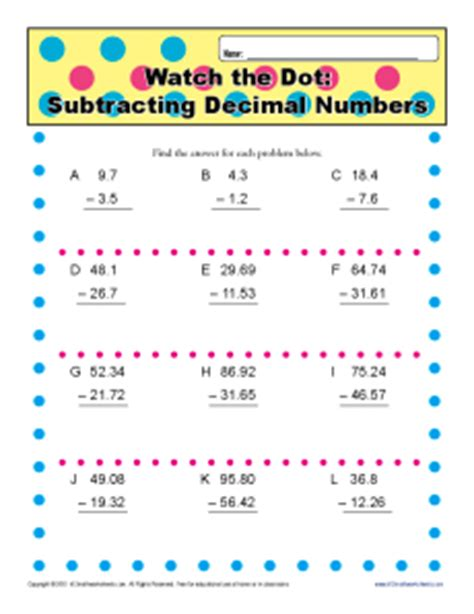 5th grade common math worksheet subtraction subtracting decimal numbers 5th grade math worksheets