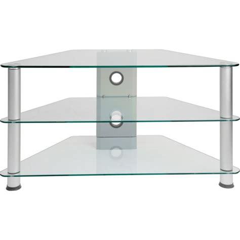 magasins ustensiles cuisine meuble d 39 angle tv en verre clair 96x46x50cm