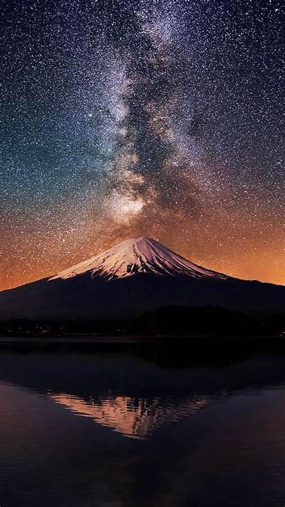 Iphone Sky Night Wallpapers Milky Way Volcano