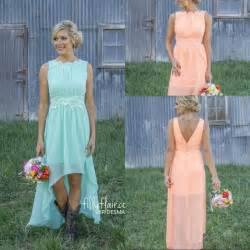 country western bridesmaid dresses 2016 high low country bridesmaid dresses lace mint orange modest crew neck chiffon western