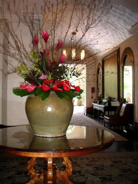 Large floral arrangement for a hotel lobby   California