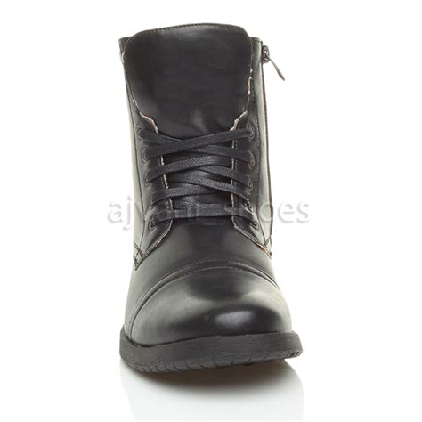 biker ankle boots mens low heel military biker lace up zip army combat ankle