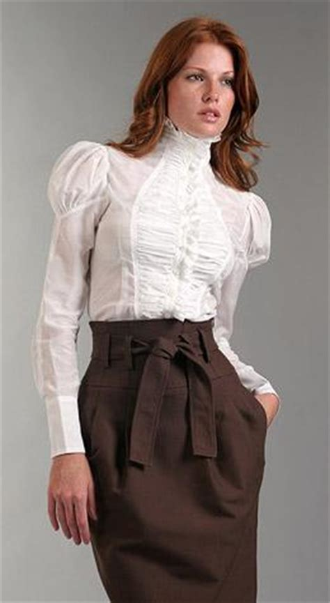 high collar blouse stained couture fashion style more