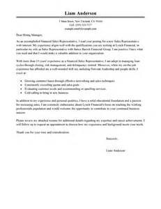 financial representative resume cover letter best sales representative cover letter exles livecareer