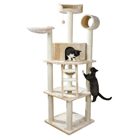 cat tree condo with hammock trixie beige belinda cat playground 47041 the home depot