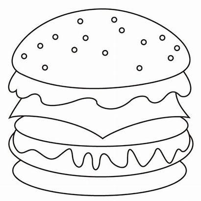 Hamburger Coloring Pages Sheet Sheets Burger Template