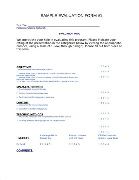 creating effective evaluation forms  printable