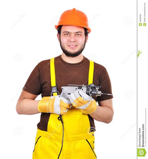 Builder Free by Builder With Drill Stock Photo Image Of Corporate
