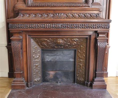 Large Antique Walnut Wood Mantel With Copper Insert, Th