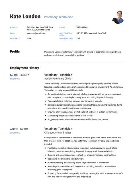 guide veterinary technician resume  samples