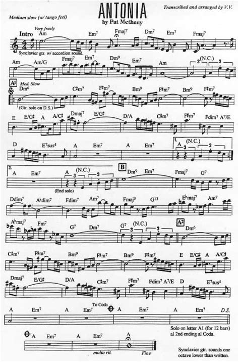 pat metheny transcriptions page