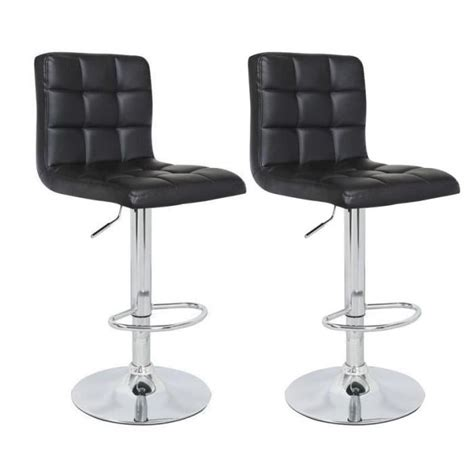 siege de bar pas cher crunch lot de 2 tabourets de bar en simili noir achat