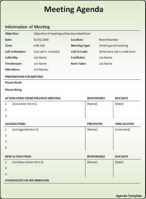 agenda template  word templates