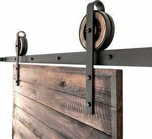 Rustic Slide Barn Door Closet Hardware Set, 6', 2-Roller