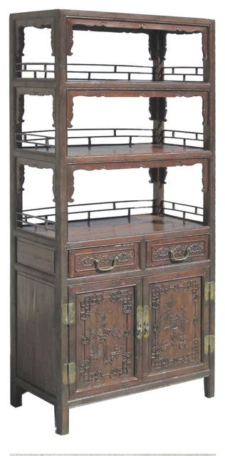 Asian Bookcase by Antique Bamboo Flower Vase Carving Bookcase
