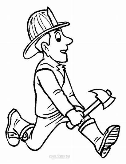 Fireman Coloring Pages Kindergarten Printable Preschoolers Hat