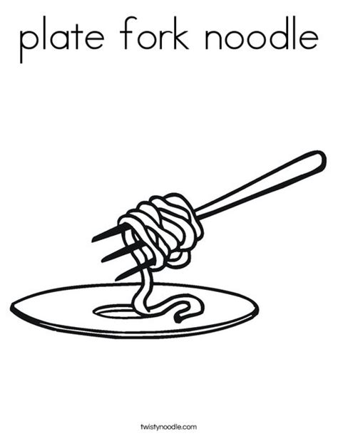 Twisty Noodle Coloring Pages Plate Fork Noodle Coloring Page Twisty Noodle