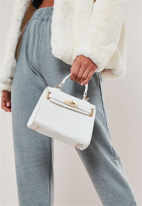 white croc effect mini handbag missguided