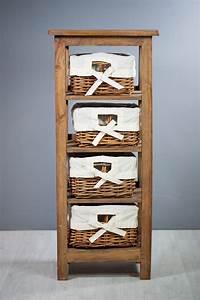 Meuble A Panier : meuble colonne en bois exotique 4 paniers sur containers ~ Teatrodelosmanantiales.com Idées de Décoration