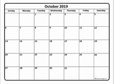 October 2019 Calendar Template printable yearly calendar